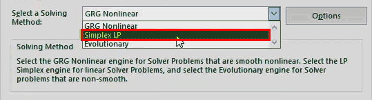 Solver in Excel - step 9