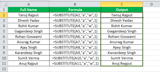 Substitute Function Example 2-2