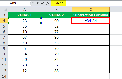 Subtraction Formula Example 1-1