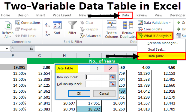 Create Two-Variable Data Table in Excel (Step by Step Guide