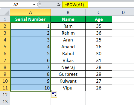 Use Row Function Example 1-5