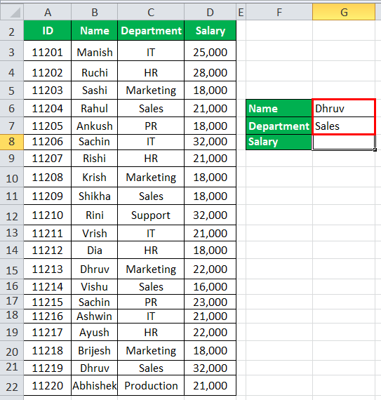 VLOOKUP with multiple criteria Example 1-1