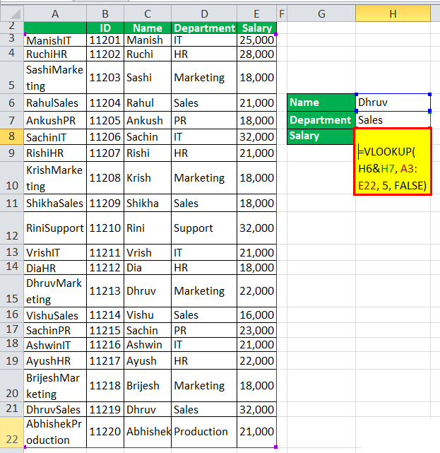 VLOOKUP with multiple criteria Example 1-4