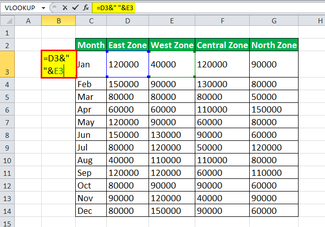 VLOOKUP with multiple criteria Example 3-1