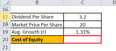cost of equity formula excel1.6