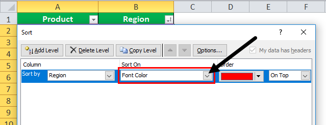 font color data by in excel step 3