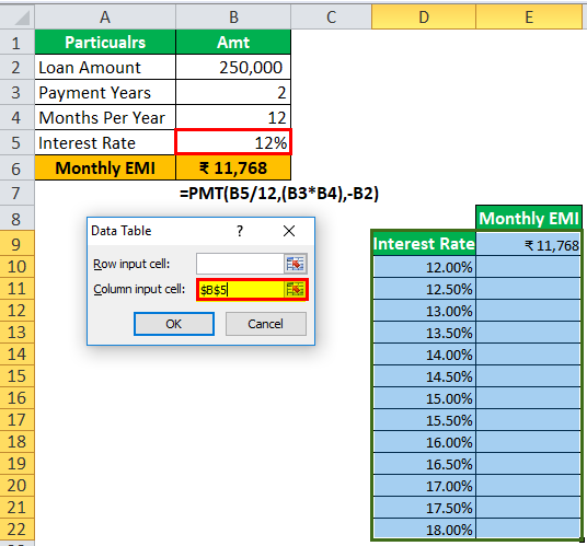 one variable data in excel step 6