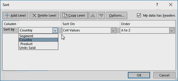 sort option in excel - Example 1-3