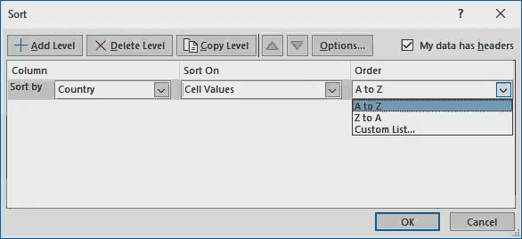sort option in excel - Example 1-5