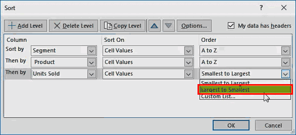 sort option in excel - Example 2-5