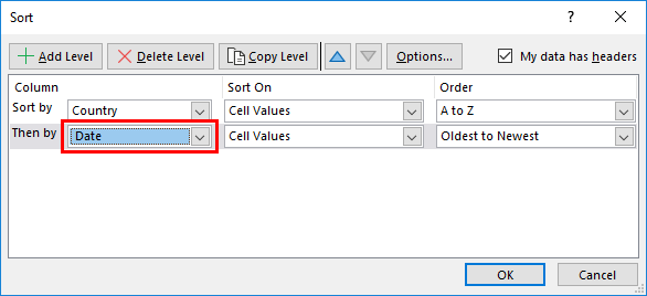 sort option in excel - Example 3-3