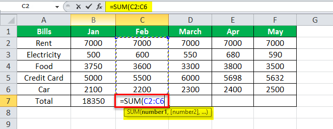using SUM Equation in Excel Example 1-1