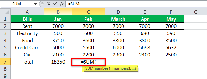 using SUM Equation in Excel Example 1