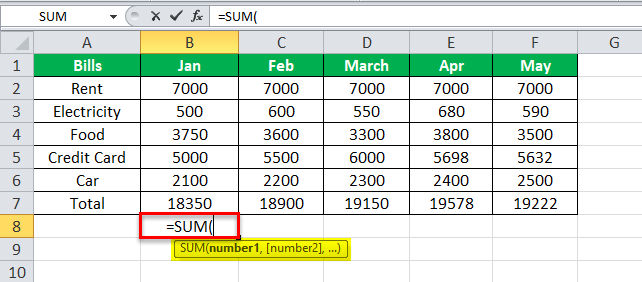 using SUM Equation in Excel Example 1-5