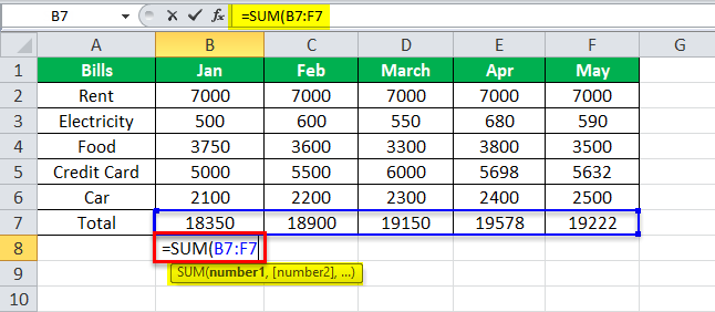 using SUM Equation in Excel Example 1-6
