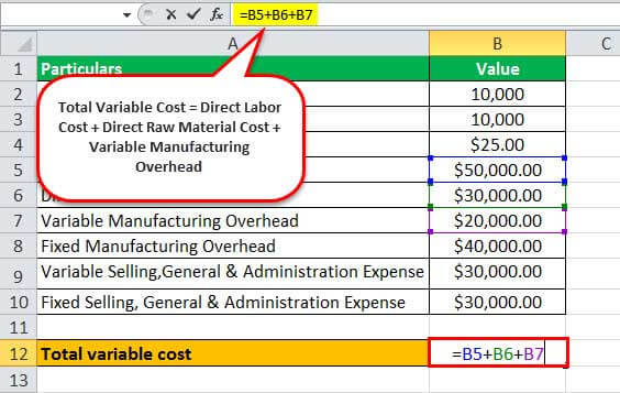 variable costing formula excel1.2