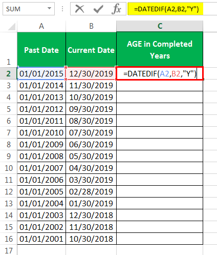 calculate age in excel Method 1-1