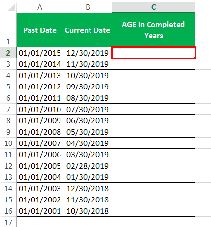 calculate age in excel Method 1