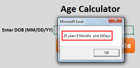 calculate age in excel Method 5-3