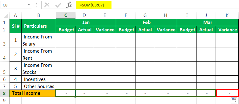 Personal Budget Example 1-2