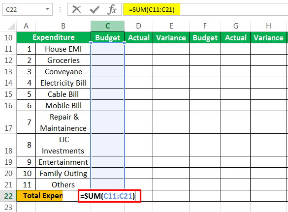Budget Example 1-5