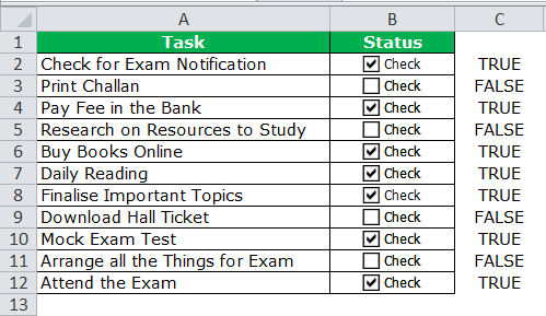 Check list in Excel Example 1-6