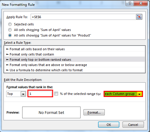 Conditional Formatting Pivot Tables Example 2-8