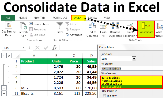 consolidate data in excel