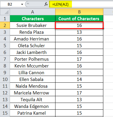 Count Characters in Excel example 1