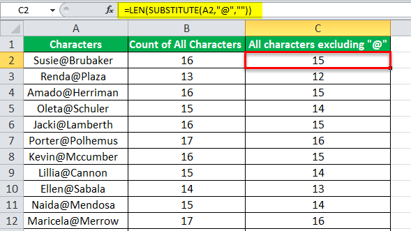 Count Characters in Excel example 2