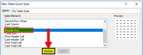 Create Table Format step 4