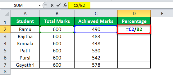 Division Formula in Excel Example 1-1