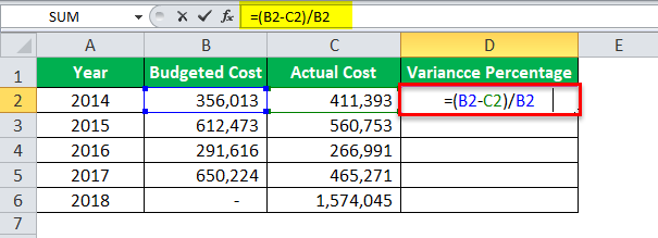Division Formula in Excel Example 4-1