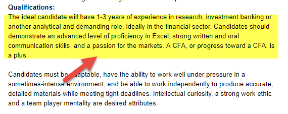 Equity Research Analyst Qualifications