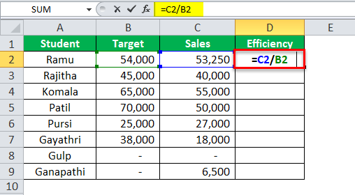 Excel Formula for Percentage example 2-1