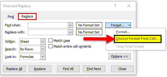 FIND & REPLACE Format step 2