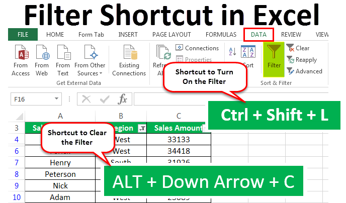 Filter Shortcut in Excel | Top 7 Keyboard Shortcuts for