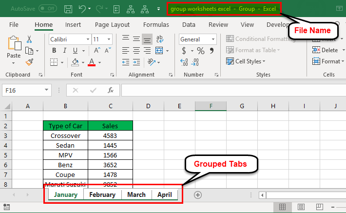 Group Worksheets in Excel 1