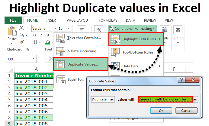 Highlight Duplicate values in Excel