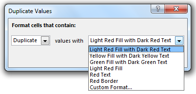 Highlight Duplicate values Example 1-3
