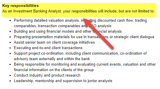 Investment Banking Analyst Responsibilities