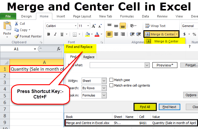 Merge and Center in Excel | How to use Shortcut for Merge