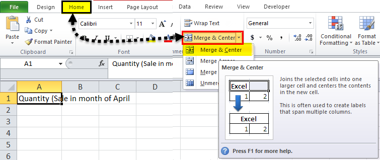 Merge and Center Example 2
