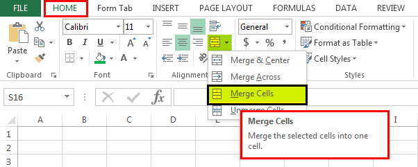 Shortcut to Merge Cells in Excel | Different Types of Merge