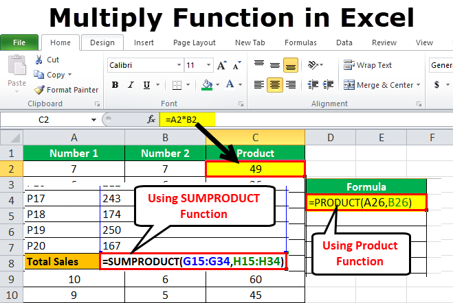 Multiply Function in Excel