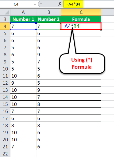 Multiply Numbers in Excel Example 1-1
