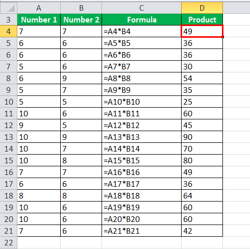 Multiply Numbers in Excel Example 1-2