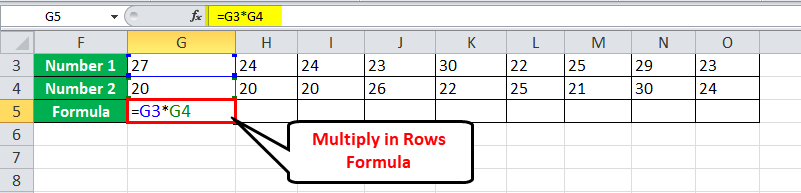 Multiply Rows in Excel Example 2-1