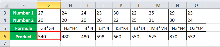 Multiply Rows in Excel Example 2-2