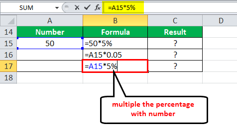 Percentage in Excel example 5-1